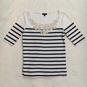 J. Crew Collection Jewel Necklace Tee XS